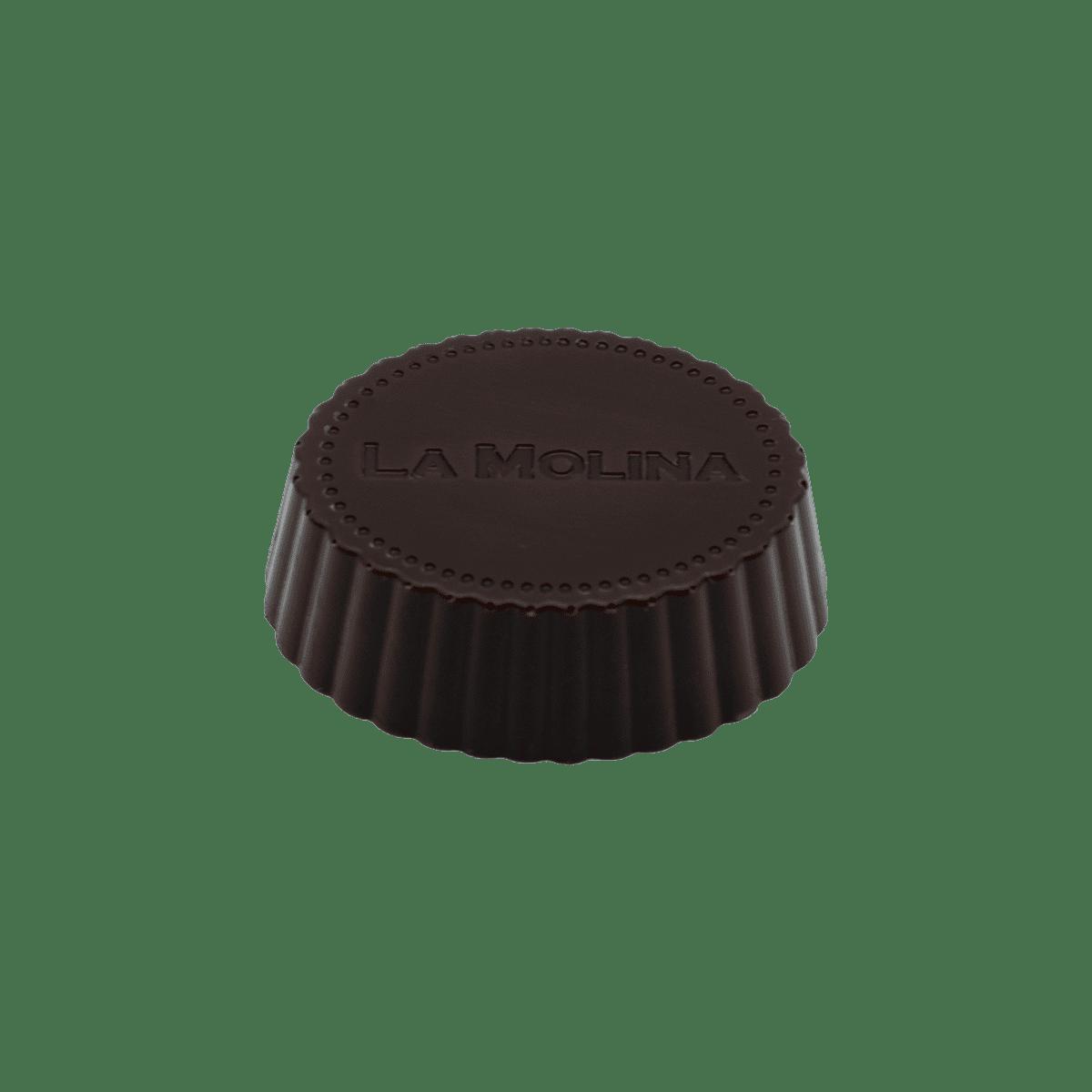 Pralina di Cioccolato fondente con ripieno di gianduia e grué
